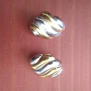 Vintage gold silver clip on earrings
